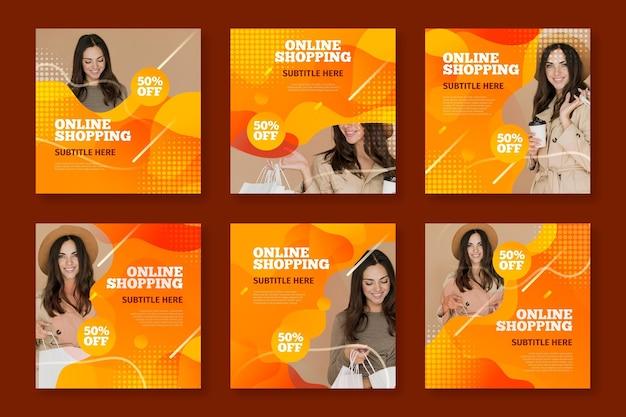 Kolekcja postów na instagramie do zakupów online
