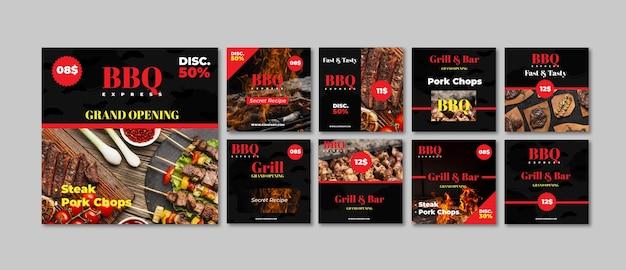 Kolekcja postów na instagramie fast food