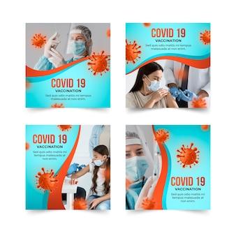 Kolekcja postów na instagramie gradientu szczepionki
