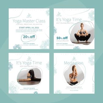 Kolekcja postów na instagramie jogi