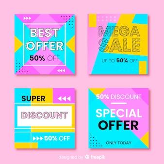 Kolekcja postów na instagramie kolorowych banerów sprzedażowych