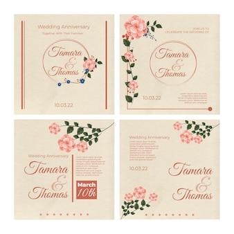 Kolekcja postów na instagramie kwiatowy ślub