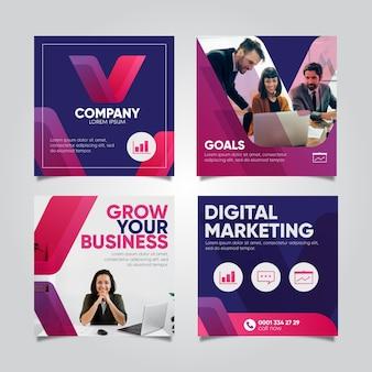 Kolekcja postów na instagramie marketingu cyfrowego
