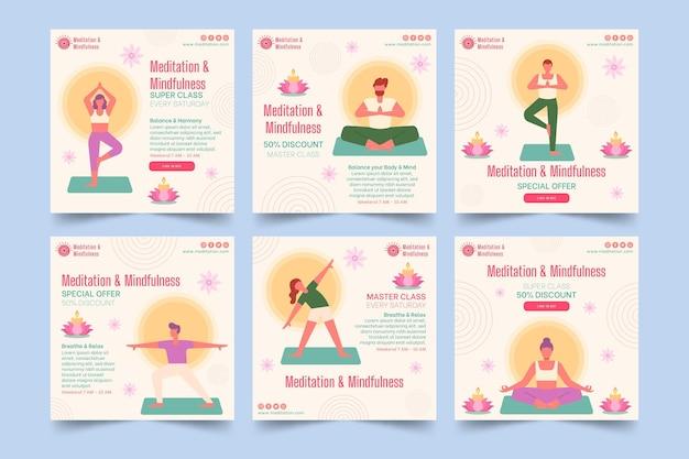 Kolekcja postów na instagramie medytacji i uważności