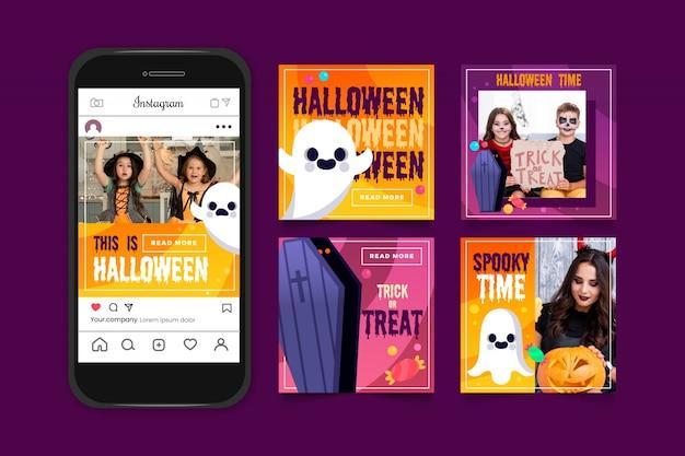 Kolekcja postów na instagramie na halloween
