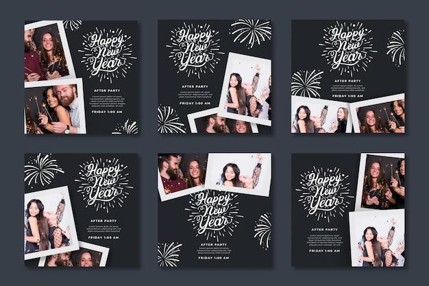Kolekcja postów na instagramie na imprezę noworoczną