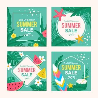 Kolekcja postów na instagramie na koniec sezonu letniej sprzedaży