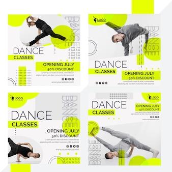 Kolekcja postów na instagramie na lekcje tańca z męskim wykonawcą