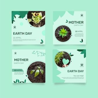 Kolekcja Postów Na Instagramie Na Obchody Dnia Matki Ziemi Darmowych Wektorów