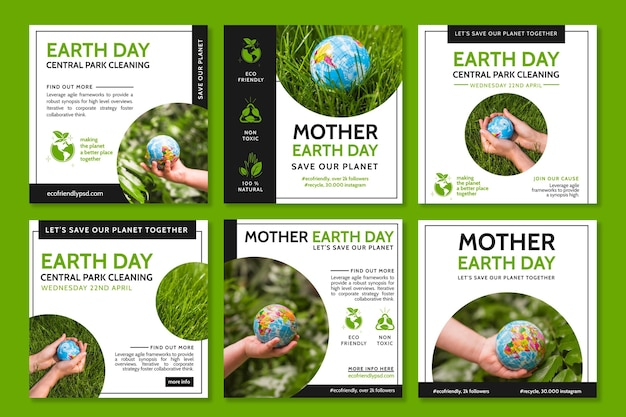 Kolekcja postów na instagramie na obchody dnia matki ziemi