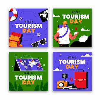 Kolekcja postów na instagramie na światowy dzień turystyki