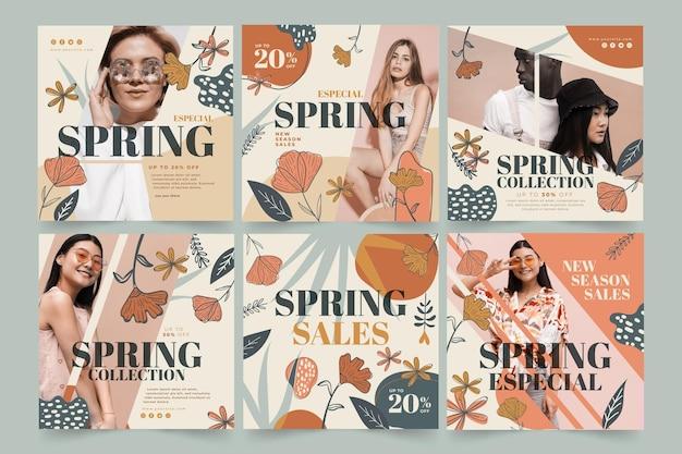 Kolekcja postów na instagramie na wiosenną wyprzedaż mody