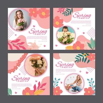 Kolekcja postów na instagramie na wiosenne przyjęcie z kobietą i kwiatami