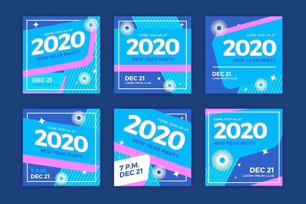 Kolekcja postów na instagramie nowego roku 2020