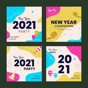 Kolekcja postów na instagramie nowego roku 2021