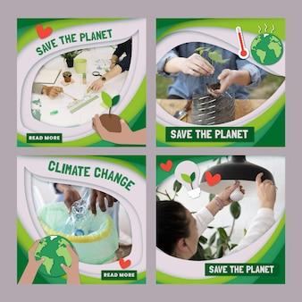 Kolekcja postów na instagramie o zmianie klimatu w stylu papieru