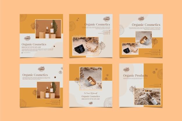 Kolekcja postów na instagramie produktów kosmetycznych
