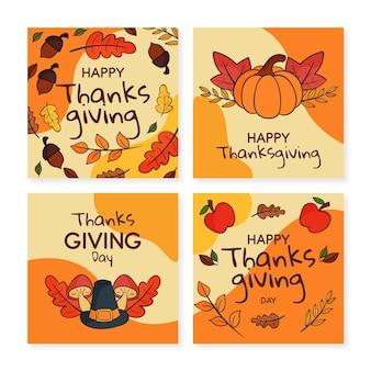 Kolekcja postów na instagramie ręcznie rysowane dzięki dziękczynienia