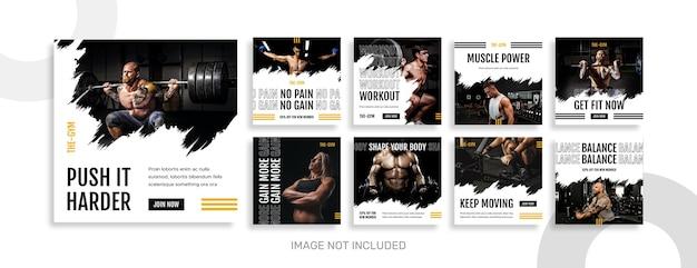 Kolekcja postów na instagramie sport i siłownia