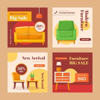 Kolekcja postów na instagramie sprzedaż płaskich mebli ekologicznych