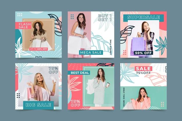 Kolekcja postów na instagramie sprzedaży mody