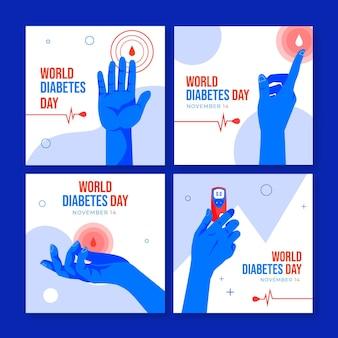 Kolekcja postów na instagramie światowego dnia cukrzycy