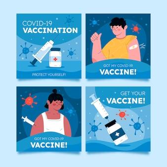 Kolekcja postów na instagramie szczepionek