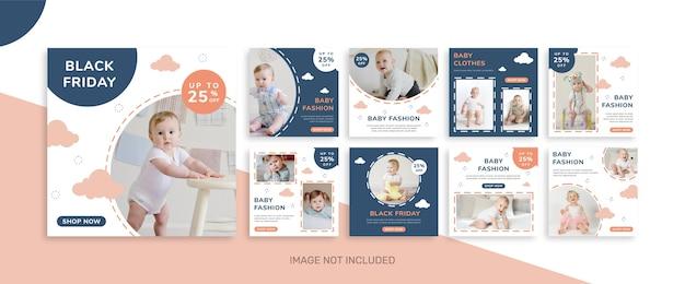 Kolekcja postów na instagramie w czarny piątek dla baby store