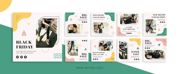 Kolekcja postów na instagramie w czarny piątek na sprzedaż mody
