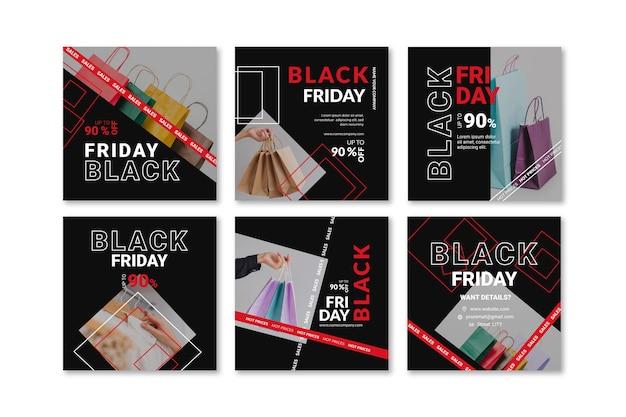 Kolekcja postów na instagramie w czarny piątek
