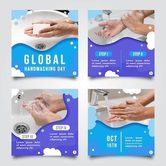 Kolekcja postów na instagramie w globalnym dniu mycia rąk w stylu papierowym