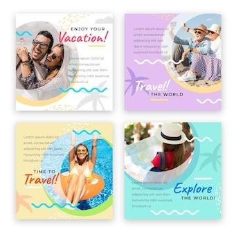 Kolekcja postów na instagramie w sprzedaży podróży
