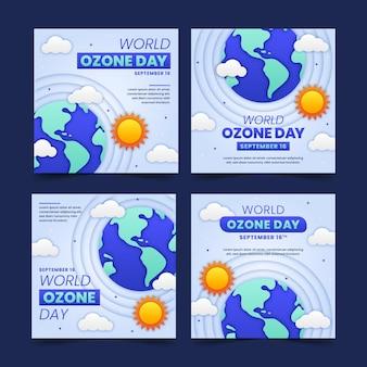 Kolekcja postów na instagramie w stylu papierowego światowego dnia ozonu