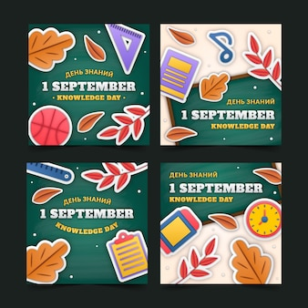 Kolekcja postów na instagramie w stylu papieru 1 września