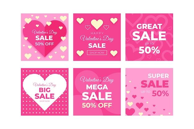 Kolekcja postów na instagramie w świetnej sprzedaży walentynki