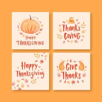 Kolekcja postów na instagramie z akwarelą dziękczynienia