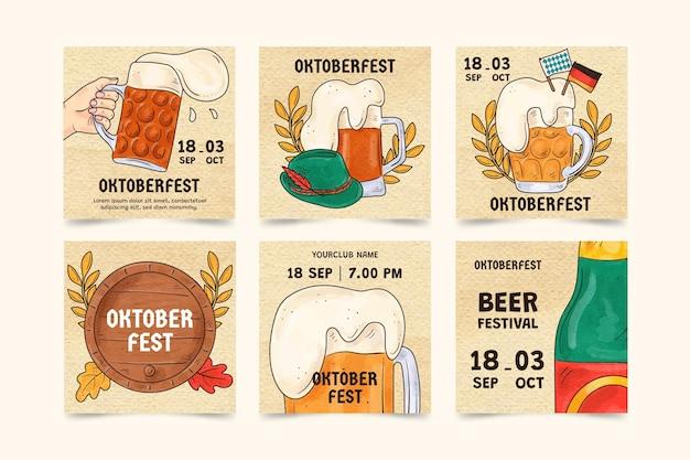 Kolekcja postów na instagramie z akwareli oktoberfest