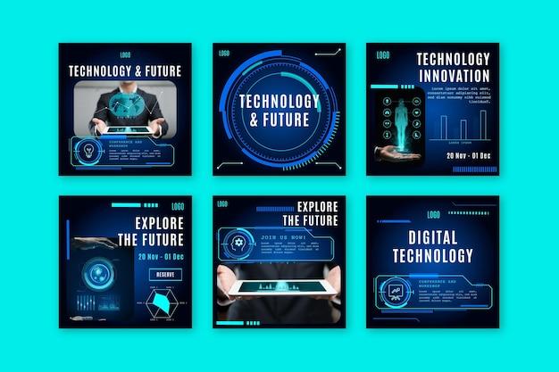 Kolekcja postów na instagramie z futurystyczną technologią