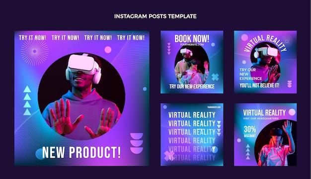 Kolekcja postów na instagramie z gradientową abstrakcyjną technologią płynów