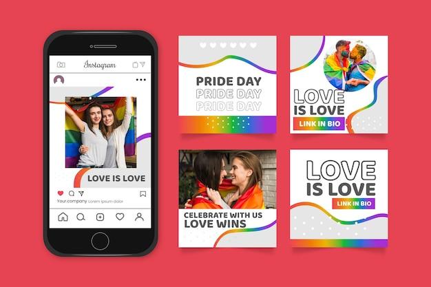 Kolekcja postów na instagramie z gradientowym dniem dumy