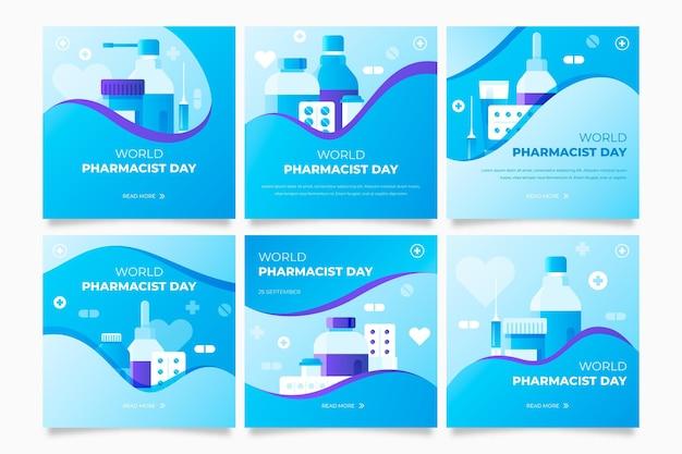 Kolekcja postów na instagramie z gradientowym dniem farmaceuty