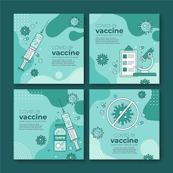 Kolekcja postów na instagramie z liniową płaską szczepionką