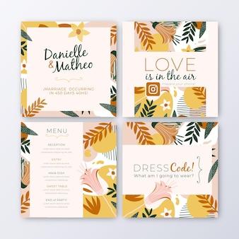 Kolekcja postów na instagramie z liśćmi na ślub