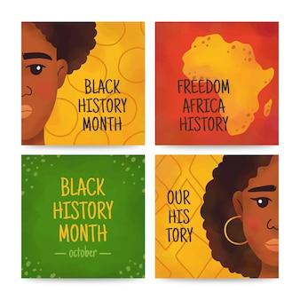 Kolekcja postów na instagramie z miesiąca czarnej historii