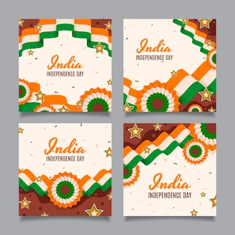 Kolekcja postów na instagramie z okazji dnia niepodległości indii