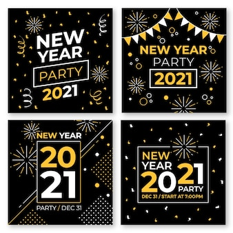 Kolekcja postów na instagramie z okazji nowego roku 2021