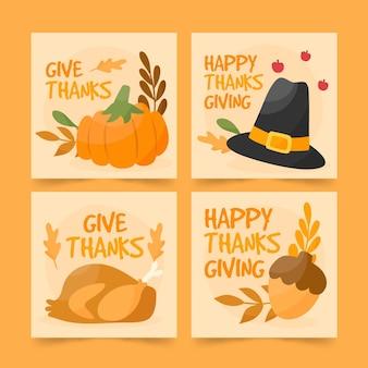 Kolekcja postów na instagramie z okazji święta dziękczynienia