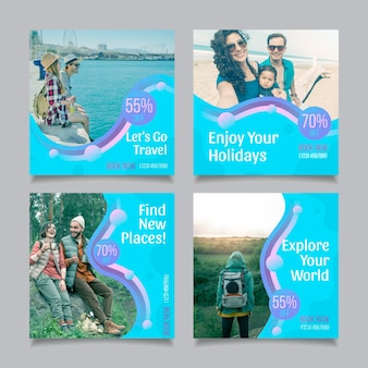 Kolekcja postów na instagramie z płaską podróżą