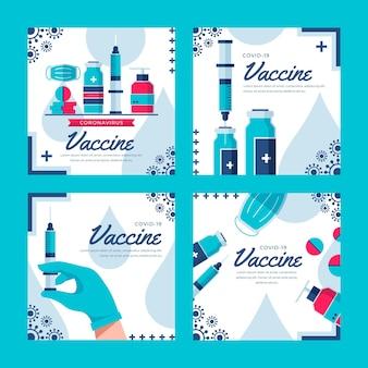 Kolekcja postów na instagramie z płaską szczepionką
