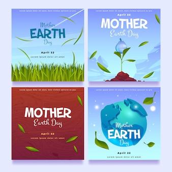 Kolekcja postów na instagramie z płaskim dniem matki ziemi